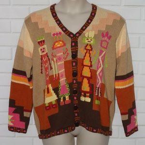Storybook Knits Sz L Aztec Navajo Native Cardigan